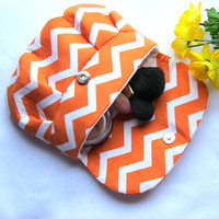 Orange Chevron Makeup  Clutch Wedding Clutch Zig Zag