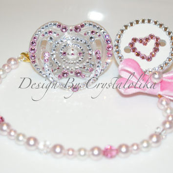 Swarovski Pacifier Clip with Crystal and Pearl.Bling Baby Giirl/Boy.