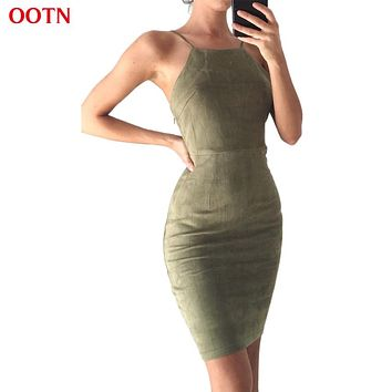 OOTN Women Summer Dress Tunic Slip Dresses Female Bandage Dress Autumn Suede Sundress Green Red Robes Office Sexy Lace up School