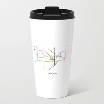 London Subway Map Print - London Metro Metal Travel Mug by NikolaJovanovic