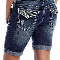 Amethyst Jeweled Jean Bermuda Short