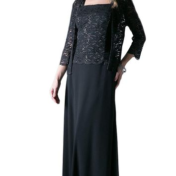 Cinderella Divine - Lace Straight Sheath Dress With Long Sleeve Jacket