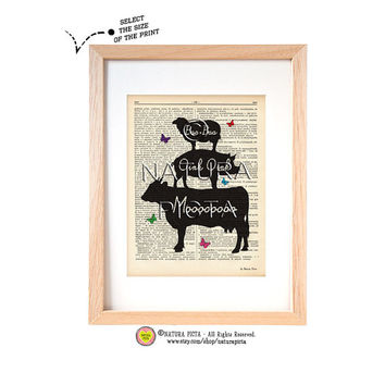 Kitchen wall art Farm animal stack-Farm animal dictionary art print-Farm animal art print- Upcycled Vintage Dictionary art - by NATURA PICTA