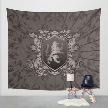 Vintage Heraldic Lion Coat of Arms Wall Tapestry by MaNia Creations