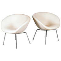 "Pair of ""The Pot"" Lounge chairs by Arne Jacobsen."