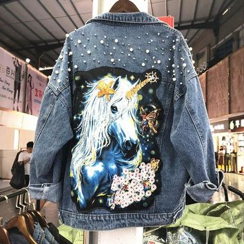 Spring Autumn 2018 New Heavy Sequins Beads Water Holes Cartoon Prints Loose Long-sleeved Denim Jacket Coat Women Casual Coats