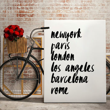 Travel Fashion print, 2015 Fashion capitals from new york, paris, london, los angeles, barcelona, to rome
