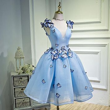 Butterfly Embroidery Cocktail Dresses Short Prom Dresses Graduation Gown Blue Party Dresses Vestido Vestidos De Graduacion