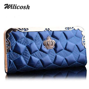 2016 New Arrival Pu Leather Fashion Women Wallets Bag Purse Women clutches Crown Day Clutch High Quality Purse For Women DB5586