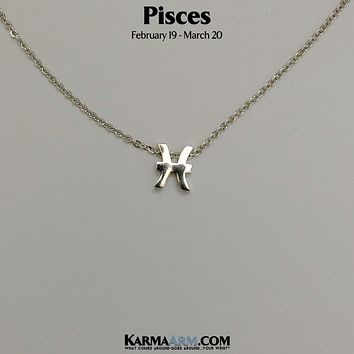 PISCES | Zodiac | Astrology Collection: 18K White Gold PL | Birth Sign Necklace