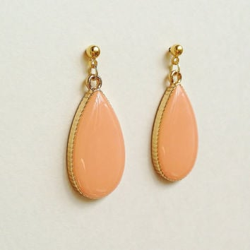 Teardrop Earrings, Pink Beige Teardrop Earrings, Pastel Pink, Coral Pink Earrings, Hypoallergenic, Bridesmaid, Resin Jewelry