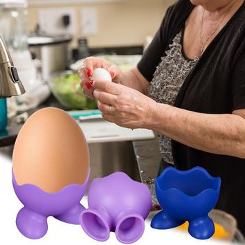 Creative Silicone Egg Fried Circle Microwave Cooking Kitchen Gadget  Egg Cup Boiled Egg Tray Coffee Spoon Stand Egg Holder