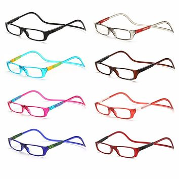 Upgraded Unisex Magnet Reading Glasses Men Women Colorful Adjustable Hanging Neck Magnetic Front presbyopic glasses -Y107
