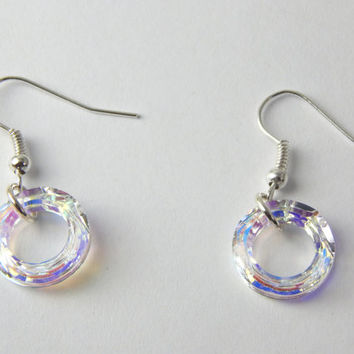Swarovski Crystal Earrings Cosmic Ring Clear Aurora Borealis Rainbow Sparkle Drop Dangle Silver Plated Hook Romance Christmas Gift