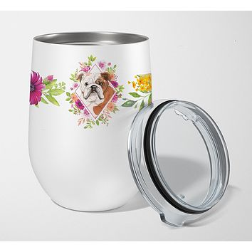 English Bulldog Pink Flowers Stainless Steel 12 oz Stemless Wine Glass CK4240TBL12