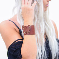 Handcrafted Butterfly Leather  Bracelet Cuffs (Brown)
