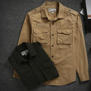 NIANJEEP Cotton Denim Shirts Sleeve Military Green
