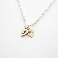 Two Initials Necklace, personalized necklace, two hearts Silver necklace, 2 initials necklace, hand stamped necklace initial jewelry custom