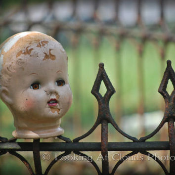 creepy doll - art photo 8 x 10 - - vintage doll head on wrought iron fence - yep, a head on a fence.... freak out your friends