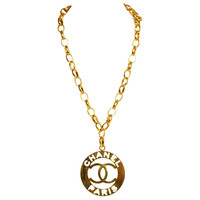 CHANEL Vintage Goldtone Chainlink Pendant Necklace W. XL 'CHANEL PARIS' Medallion c. 1960's