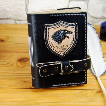 Winter is Coming, Stark journal, Game of Thrones Journal, Personalized Journal, A6, A5, A4  Handmade Journal, Gift TiVergy Book