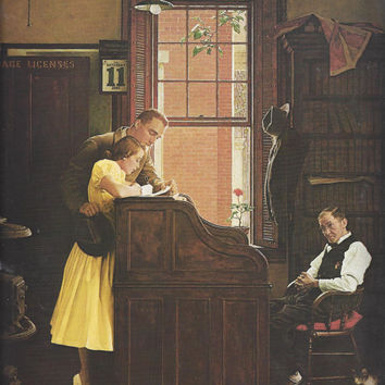 1970 Framable Art Print by Norman Rockwell, The Marriage License, Post Magazine Cover, June 11, 1955, Vintage Art Print, 10 7/8 x 11 5/8