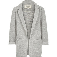River Island Girls grey ottoman ribbed blazer