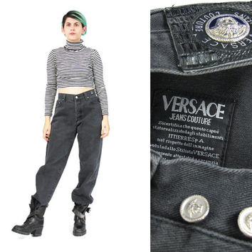 90s Versace Jeans Couture Baggy Fit Boyfriend Jeans Womens Faded Denim Vintage Black Jeans Designer Jeans Made in Italy Plus Size (L/XL)