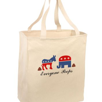 Everyone Poops Donkey Elephant Large Grocery Tote Bag