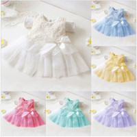 Lace flower bow cute baby girls dress,baby girl baptism dresses gowns for Wedding Party,infant princess dress T456