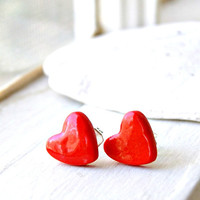 little hearts shiny red polymer clay post earrings, stud earrings, valentine's day