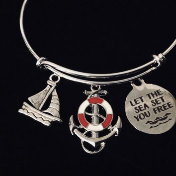 Red Anchor Sail Boat Nautical Jewelry Let the Sea Set you Free Expandable Charm Bracelet Silver Adjustable Bangle One Size Fits All Gift Trendy Stacking