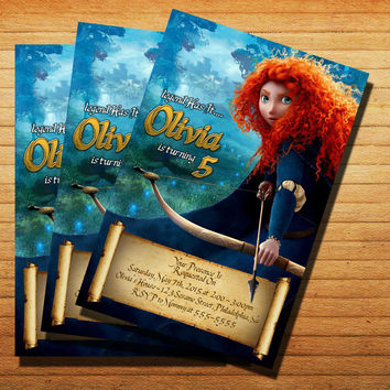 Disney Brave Birthday Party Invitation Cards 4x6, 5x7, Customized