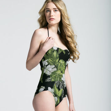 Hawaiin Princess Mesh Overlay One Piece Bathing Suit