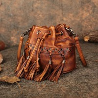 Women's Shoulder Sling Bags 2018 New Arrival Handmade Genuine Leather Purse Handbags Colorful Small Lady Messenger Luxury Bags