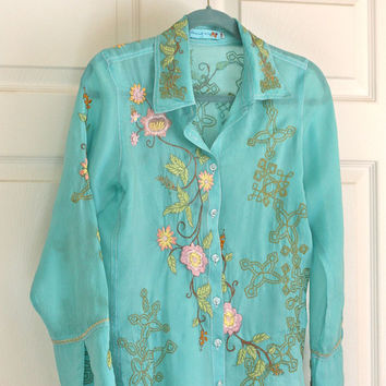 Johnny Was Teal Multi Floral Boho Blouse