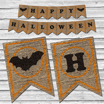 Happy Halloween Bat Burlap Banner – Printable Home Decor –  Black & Orange Party Decoration – Stamped Burlap Banner - INSTANT DOWNLOAD