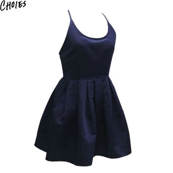 Women Black And Navy Strappy Cross Back Sexy Skater A Line Mini Dress  Summer New Fashion Backless Brief Slim Club Dresses
