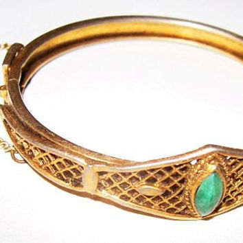 "Art Deco Cuff Bangle Bracelet Green Jade & Gold Basket Weave Design Security Chain 2.5"" Vintage"
