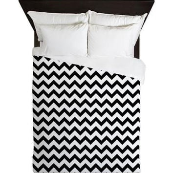 Duvet Cover - Black and White Chevron Duvet Cover - Glamour Decor - Fashion Decor - Dorm Decor - Teen Room Decor - Girls Room
