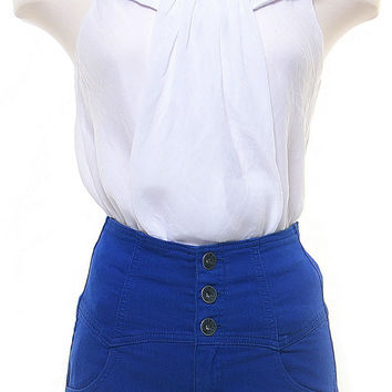 Royal Blue High Waisted Denim Shorts - Unique Vintage - Homecoming Dresses, Pinup & Prom Dresses.
