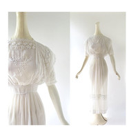 Edwardian Tea Dress / Lilia 1910s Dress / Antique Lace Dress / Wedding Dress / XXS