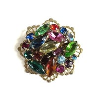 Multi Color Rhinestone Brooch in a Rainbow of Red, Blue, Green & Topaz Vintage
