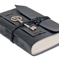 Faux Leather Wrap Journal with Key Bookmark - Choice of 6 colors - 2 paper options