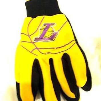 Los Angeles Lakers LA Lakers Team Raised Logo Licensed Sport Utility Gloves-New
