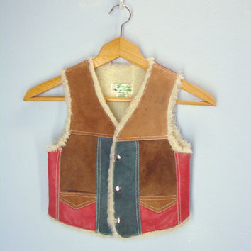 Vintage Child's Vest / Sherpa Leather Vest / Patchwork Leather Children