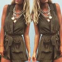 Sleeveless V-Neck Tie-Waist Romper