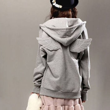 Women Winter Korean Angel Wings Hooded Sweater Keep Warm Coat COAT9232 = 1930440196