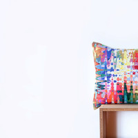 Abstract Watercolor Pillow Cover with Pink, Red, Purple, Coral, Peach, Aqua, Green, Yellow, Orange, Brown and White Strokes -Abstract Pillow