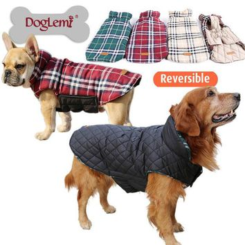 ac NOOW2 Waterproof Reversible Dog Jacket Designer Warm Plaid Winter Dog Coats Pet Clothes Elastic Small to Large Dog Clothes Winter
